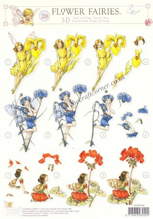 Flower Fairy 20 Geranium, Iris and Cornflower Fairies by Cicely Mary Barker 3d Decoupage Sheet